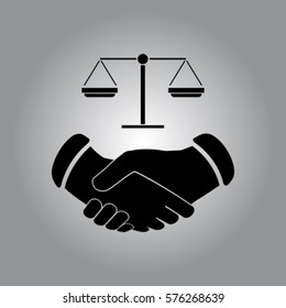 Handshake and libra icon, justice vector illustration