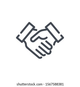 Handshake line icon. Agreement and Partnership vector outline sign.