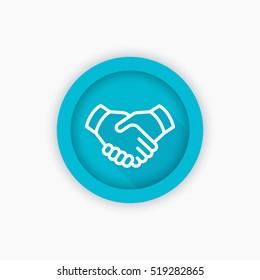 handshake line icon, deal, partnership pictogram