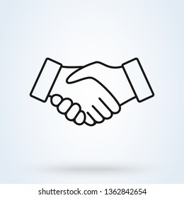 Handshake line icon. Partnership and agreement symbol on white background. Vector illustration