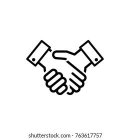 handshake line sign, icon vector