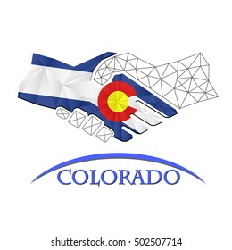 Handshake logo made from the flag of Colorado.