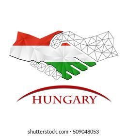 Handshake logo made from the flag of Hungary.