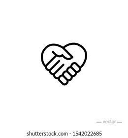 handshake love design icon logo vector