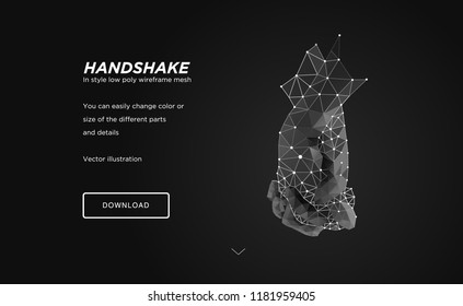 Handshake low poly wireframe art on black backgraund.Gesture of unity or union together.Сoncept of holograms of connected hands.Polygonal space low poly with connected dots and polygon lines.3D vector