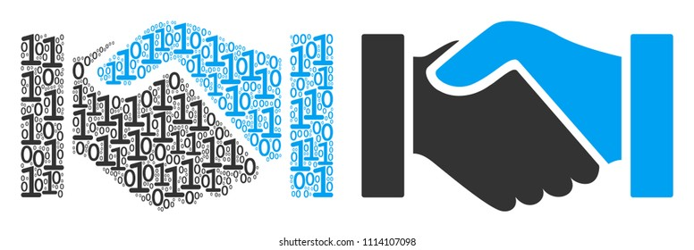 Handshake mosaic icon of zero and null digits in randomized sizes. Vector digit symbols are grouped into handshake collage design concept.