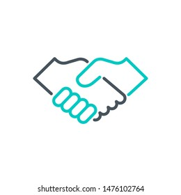handshake outline flat icon. Single high quality outline logo agreement symbol for web design or mobile app. Thin line sign design logo deal. Black and blue icon pictogram isolated on white background