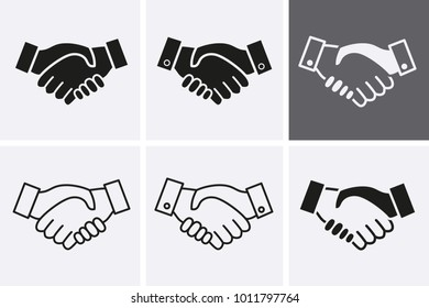 Handshake partnership icon. Loyalty or respect pictogram. Vector set icons