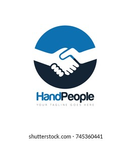 handshake people deal logo design template