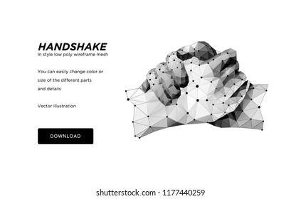 Handshake polygonal wireframe art on white backgraund. Hands of a person or a robot. The concept of steel hands.  Polygonal illustration with connected dots and polygon lines. 3D vector wireframe mesh