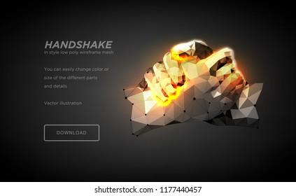 Handshake polygonal wireframe art on black backgraund. Hands of a person or a robot. The concept of steel hands.  Polygonal illustration with connected dots and polygon lines. 3D vector wireframe mesh