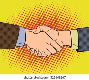 Handshake in pop art retro style. Vector illustration.