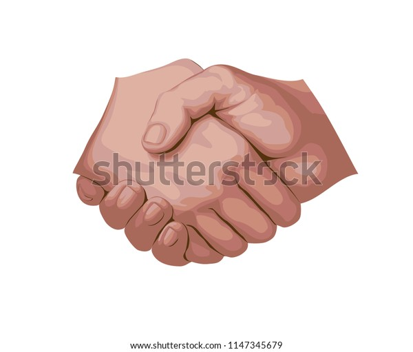 Handshake. Realistic flat EPS 8 vector illustration, isolated on light background.