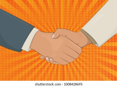 Handshake retro style vector illustration. Business man shaking hands. Strong and firm handshake clap. Pop art style illustration.