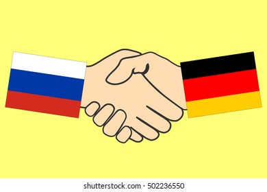 Handshake with Russia and Germany flag, Handshake icon, business agreement handshake, vector illustration.