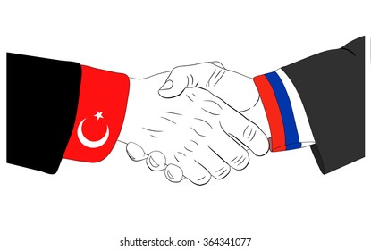 Handshake of the russian and turkish hands
