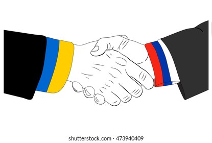 Handshake of the russian and ukrainian hands