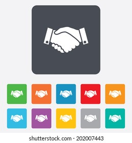 Handshake sign icon. Successful business symbol. Rounded squares 11 buttons. Vector