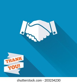 Handshake sign icon. Successful business symbol. White flat icon with long shadow. Paper ribbon label with Thank you text. Vector
