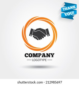 Handshake sign icon. Successful business symbol. Business abstract circle logo. Logotype with Thank you ribbon. Vector