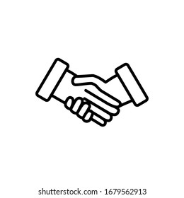 Handshake simple outline vector icon. Business agreement or friendly handshake sign