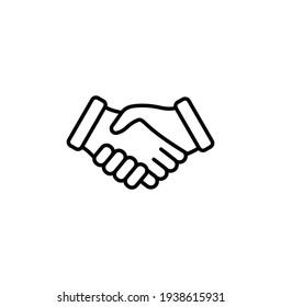 Handshake simple thin line icon vector illustration