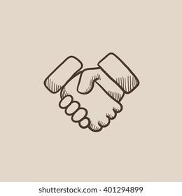 Handshake sketch icon.