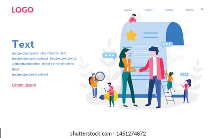 Handshake, successful partnership. Vector illustration for web banner, print, infographics, mobile website. Landing page template. Conclusion of a contract, cooperation, teamwork.