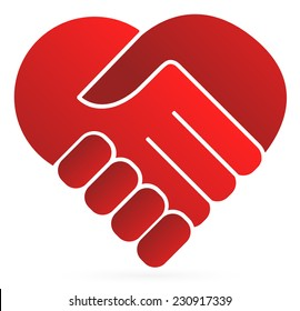 Handshake symbol forming a heart