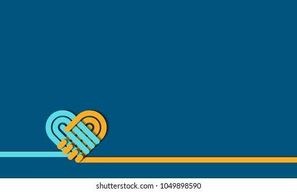 Handshake symbol forming a love heart, vector