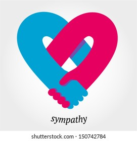 Handshake sympathy, love and friendship concept, vector illustration