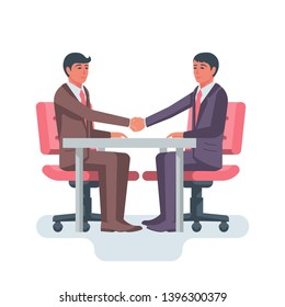 Handshake at the table. Beginning a business relationship. Two businessmen are sitting at the negotiating table. Vector illustration flat design. Isolated on white background. Agreement concept.