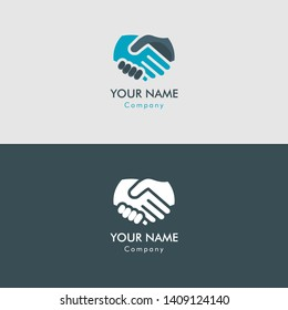 handshake thin line flat color icon. Linear vector illustration. Isolated on grey background. Deal.