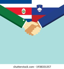 The handshake and two flags Costa Rica and Slovenia. Flat style vector illustration.