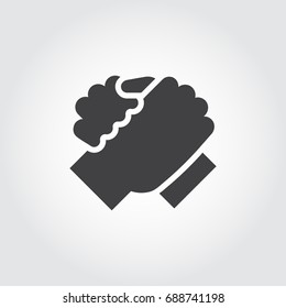 Handshake of two people icon in flat design style. Simple black logo for brotherly support, meeting, armwrestling, business teamwork concept image. Contour arm silhouette. Vector illustration