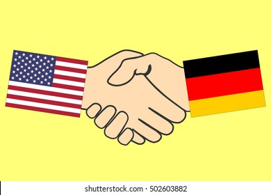 Handshake with USA and Germany flag, Handshake icon, business agreement handshake, vector illustration.