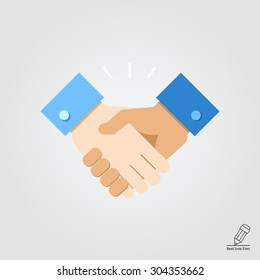 Handshake.  Vector flat design. Icon for presentation, training, marketing, design, web. Can be used for creative template, logo, sign, craft. Isolated on white background.