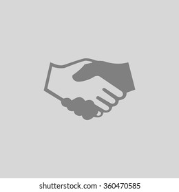 handshake vector - Grey flat icon on gray background