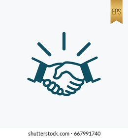 Handshake vector icon. Flat Isolated Graphic design. Use to software and web interface toolbars