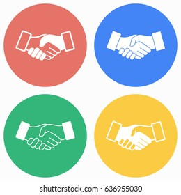 Handshake vector icons set. Illustration isolated for graphic and web design.