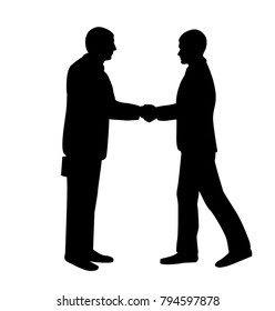 Handshake vector illustration. Business man silhouettes shaking hands. Strong and firm handshake clap.