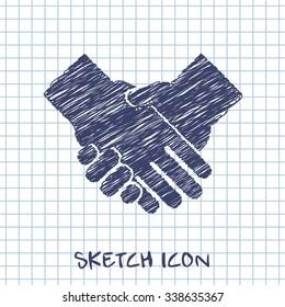 handshake vector sketch icon