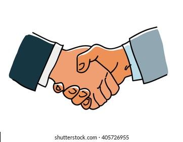Handshake.Symbol of partnership.Sketch of handshake Hand drawn vector illustration. Cartoon handshake isolated on white background