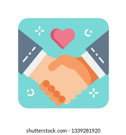 Handshaking flat color icon. Kindness, charity and help concept. Sign for web page, mobile app, banner, social media. Pictogram UI/UX user interface. Vector clipart.