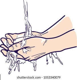 Hands.Healthy washing hands, health care, medical, surgery, personal hygiene. Hands under water. Vector illustration of washing hands. Image can be resized without loss quality.