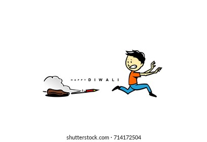 Handsketch of child running from crackers , fire, smoke, danger, happy diwali icon, vector illustration