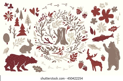 Handsketched elements of northern forest. Hand drawn nordic set. Vector collection of animals, florals, flowers, branches, berries, trees. Bear, deer, fish, rabbit, bird silhouettes.