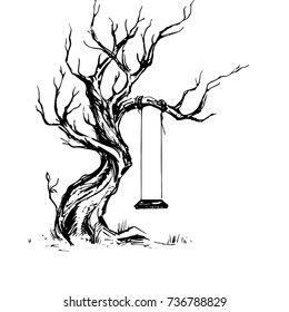 Handsketched old crooked tree with swing. Dry wood, tinder. Deciduous oaktree vintage ink sketch with hollow seesaw. Freehand linear picture in retro doodle graphic style. Allegory of loneliness
