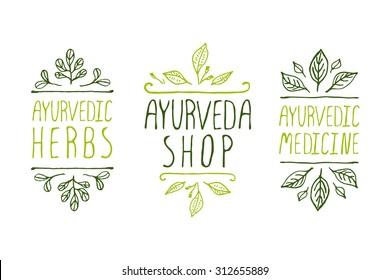 Hand-sketched typographic elements. Ayurveda product labels. Suitable for ads, signboards, packaging and identity and web designs. Ayurvedic medicine, Ayurveda shop, Ayurvedic herbs