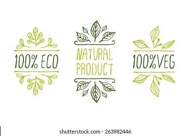 Hand-sketched typographic elements. Natural product labels. Suitable for ads, signboards, packaging and identity and web designs